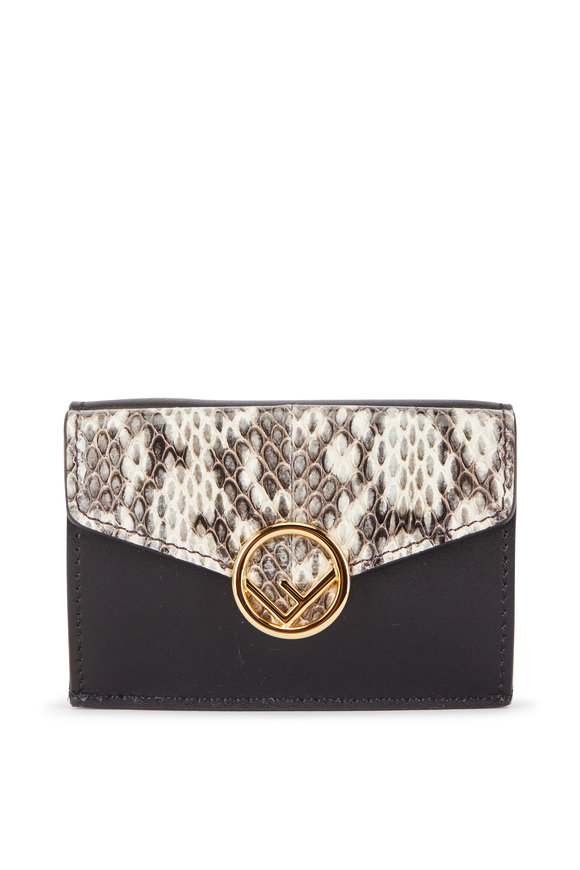 Fendi Black Leather & Snakeskin Micro Trifold Wallet