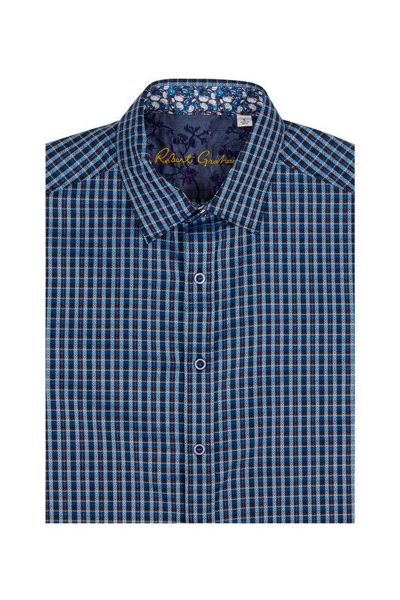 Robert Graham Matira Blue Check Tailored Fit Sport Shirt