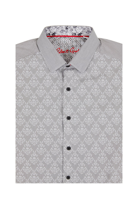 Robert Graham Dynamo Gray Diamond Skull Motif Sport Shirt