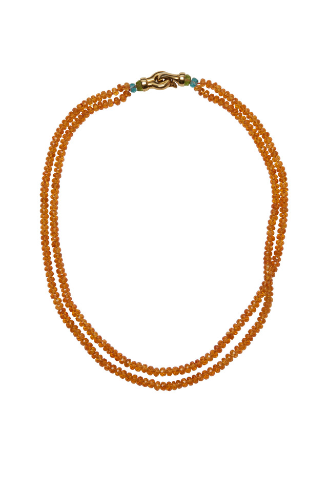 Yellow Gold Double Spessartite Strand Necklace