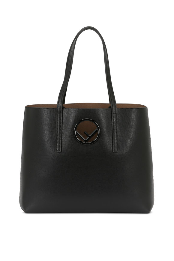 Fendi Black Grained Leather Logo Shopper