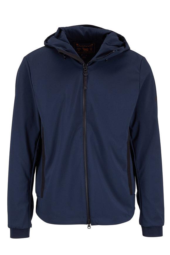Woolrich Soft Shell Blue Nylon Hooded Jacket