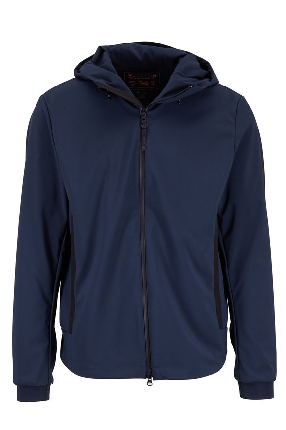 Woolrich Soft Shell Blue Nylon Hooded Jacket