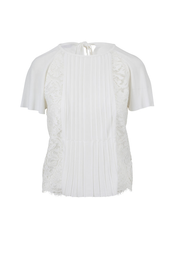 Valentino Ivory Lace & Knit Short Sleeve Top