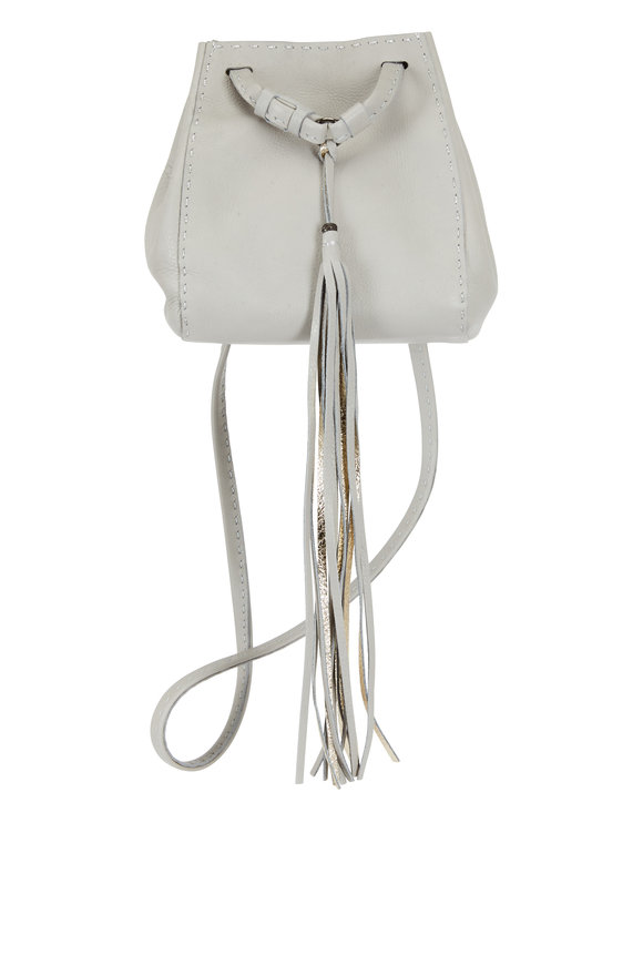 Henry Beguelin Brina Grey Leather Mini Bucket Crossbody Bag