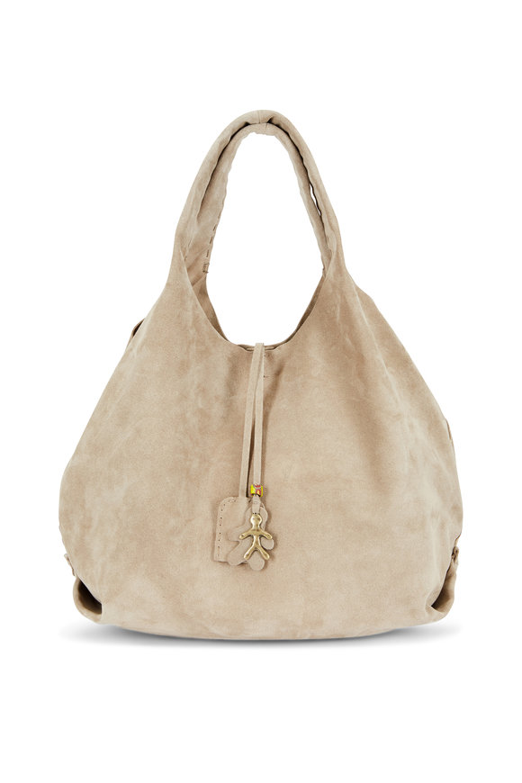 Henry Beguelin New Canotta Beige Suede Large Hobo Bag