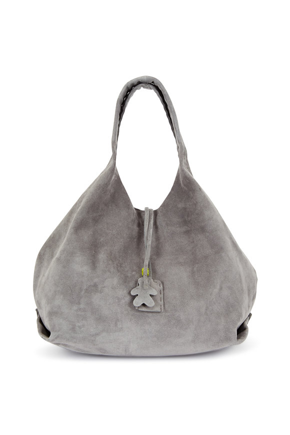 Henry Beguelin New Canotta Gray Suede Large Hobo Bag