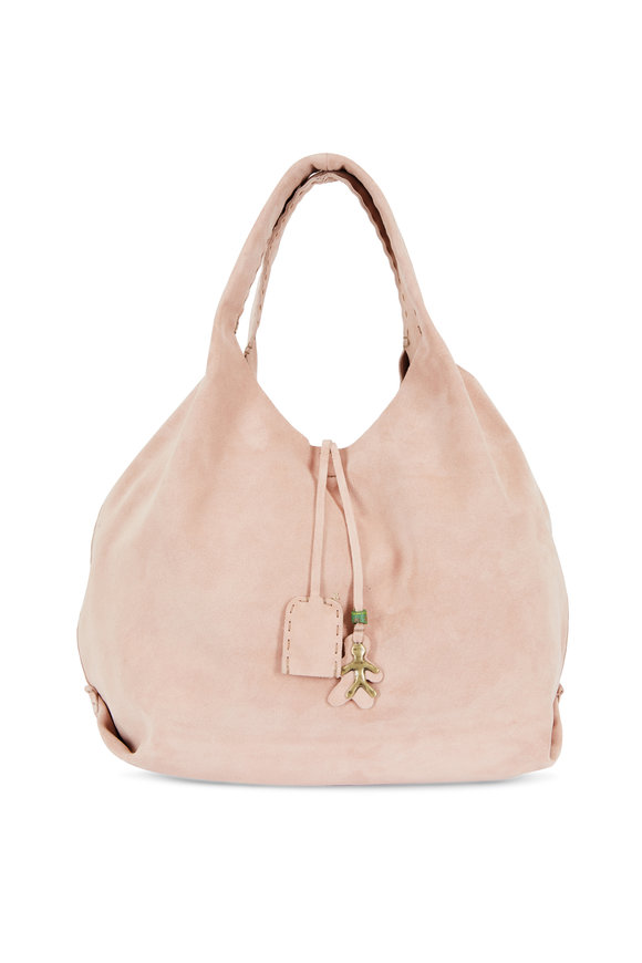 Henry Beguelin New Canotta Pink Suede Large Hobo Bag