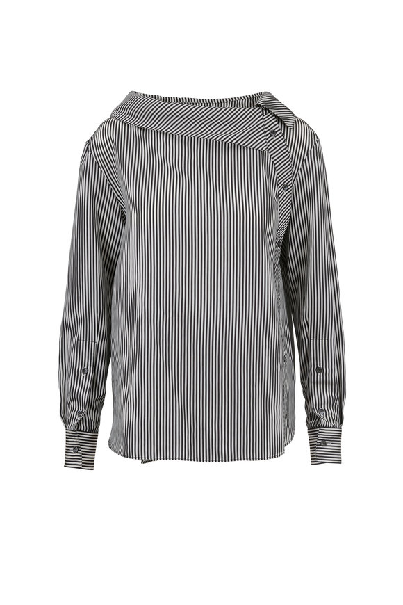 Altuzarra Eileen Black & White Striped One-Shoulder Blouse