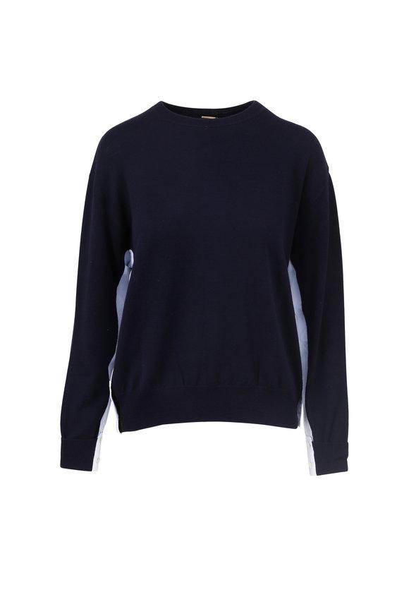 Adam Lippes Navy Wool Contrast Side Crewneck Sweater