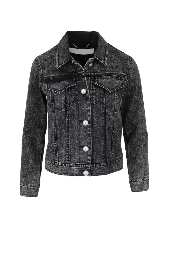 Adam Lippes Black Acid Wash Denim Jacket
