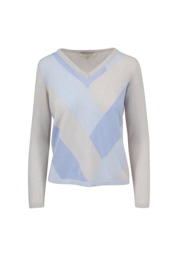 Rani Arabella Light Blue Cashmere Intarsia V-Neck Sweater