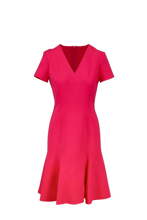 Carolina Herrera Raspberry Wool Short Sleeve V-Neck Dress