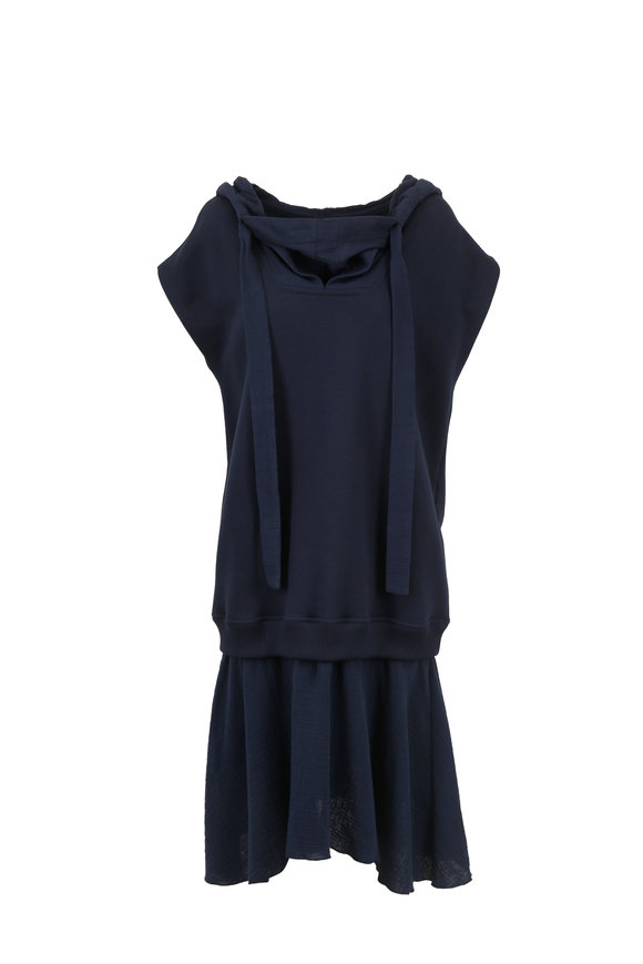 See by Chloé Ultramarine Double-Layer Jersey Dress With Hood