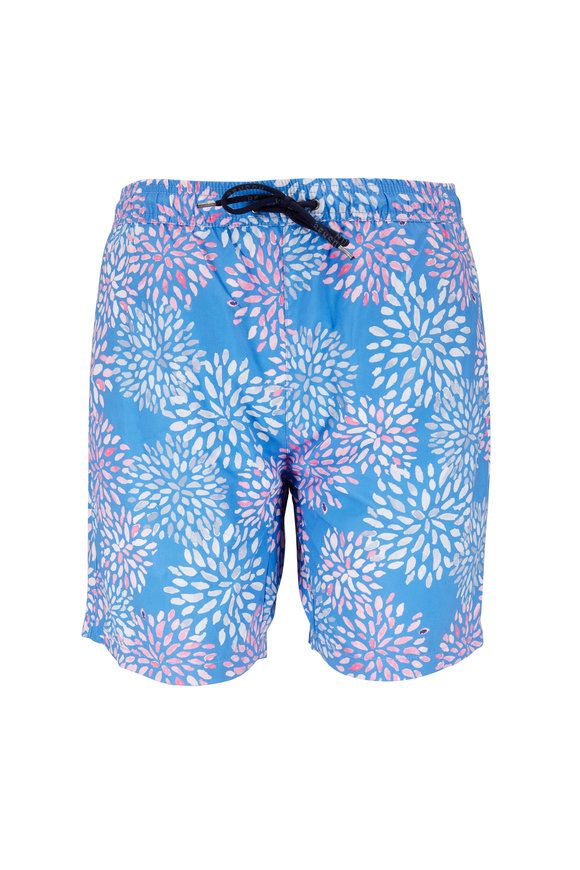 Benson  Blue Floral Swim Trunks