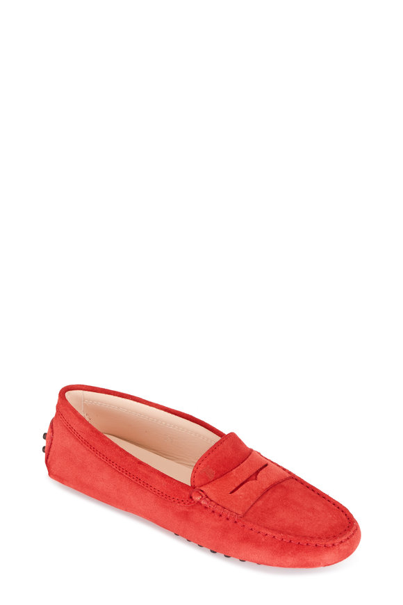 Tod's Gommini Red Suede Penny Driver
