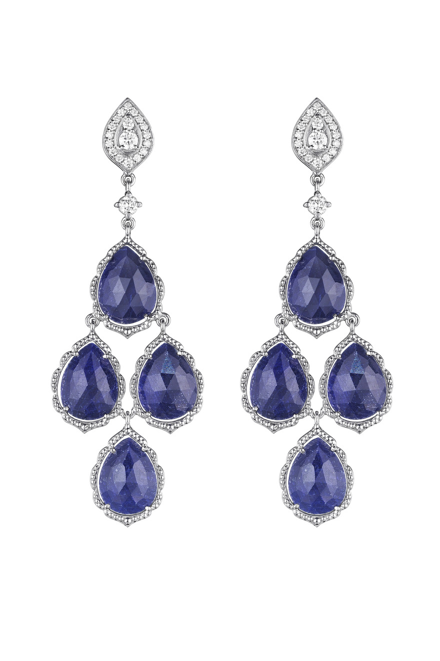 White Gold Rose Cut Blue Sapphire Cluster Earrings