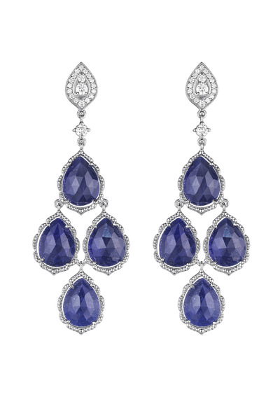 Penny Preville - White Gold Rose Cut Blue Sapphire Cluster Earrings