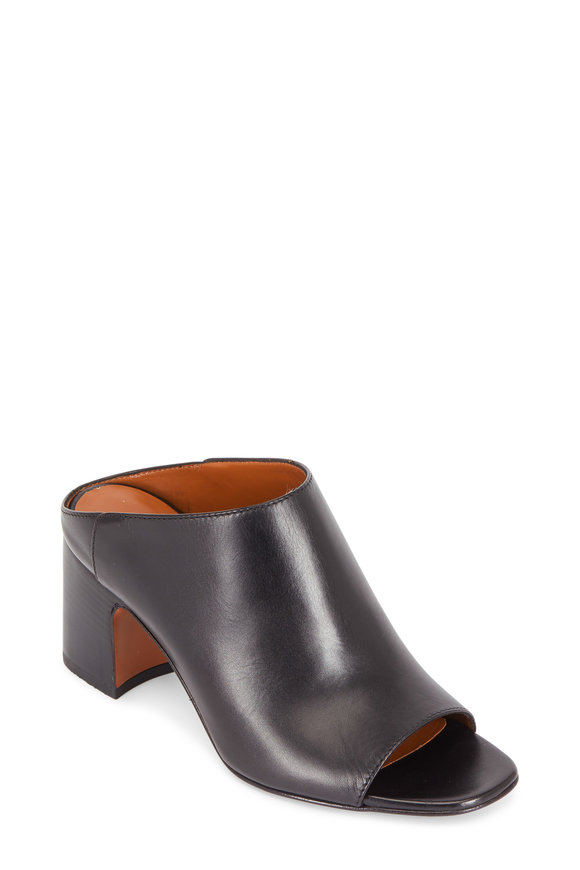 Aquatalia Ellen Black Leather Open-Toe Mule, 60mm