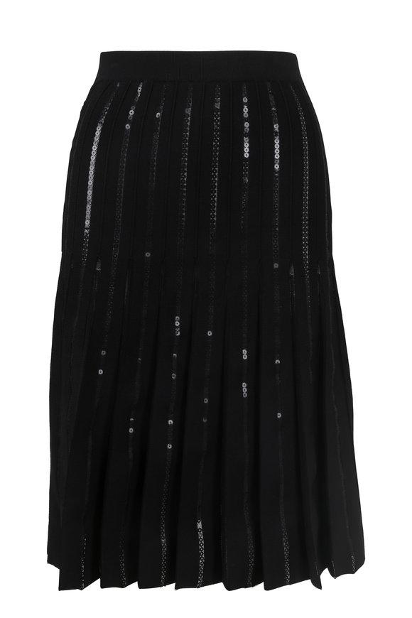 Jonathan Simkhai Black Pleated Sequin Midi Skirt