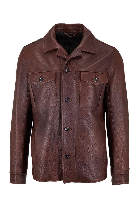 Ajmone Coffee Brown Deerskin Leather Jacket