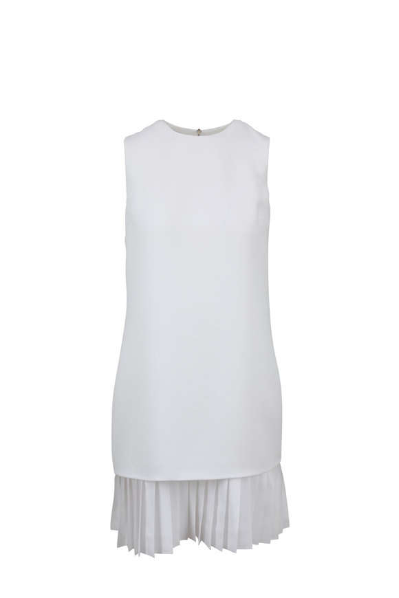 Victoria, Victoria Beckham White Pleated Hem Sleeveless Shift Dress