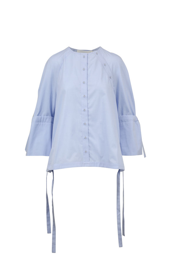 Victoria, Victoria Beckham Oxford Blue Cotton Tie-Sleeve Blouse