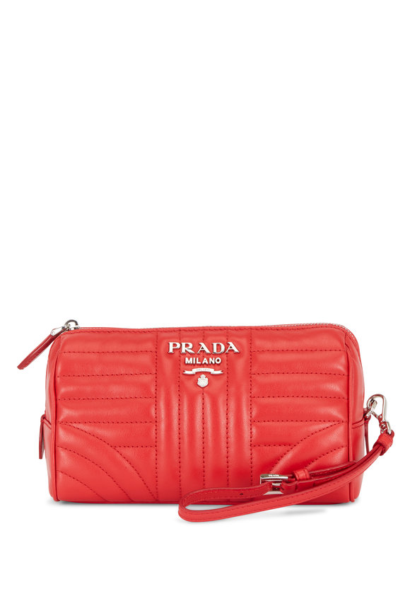 Prada Red Quilted Leather Wristlet