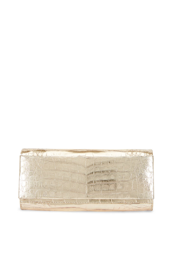Nancy Gonzalez Rose Gold Crocodile Clutch