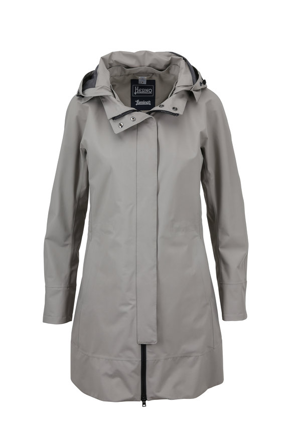 Herno Khaki Gortex Jacket With Hood