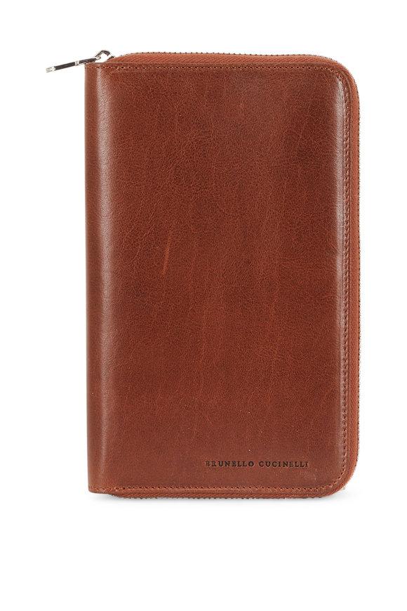 Brunello Cucinelli Brown Leather Zip Travel Case