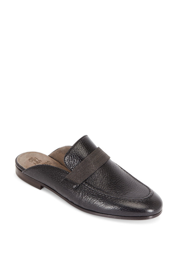 Brunello Cucinelli Black Grained Leather Monili Slide