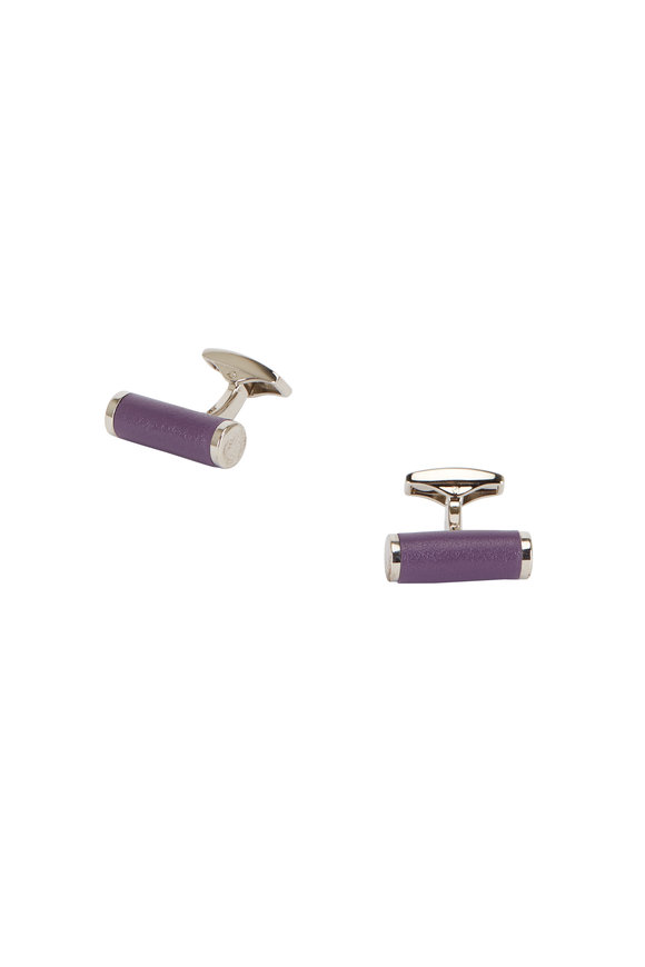 Ettinger Leather Purple Leather Bar Cuff Links