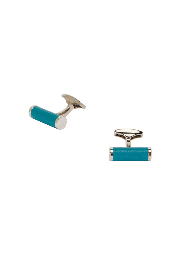 Ettinger Leather Turquoise Leather Bar Cuff Links