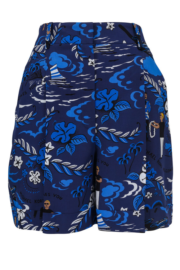 Michael Kors Collection Sapphire Silk Welcome Print Shorts