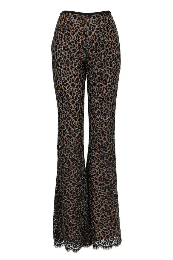 Michael Kors Collection Black & Gold Lace Flare Pant