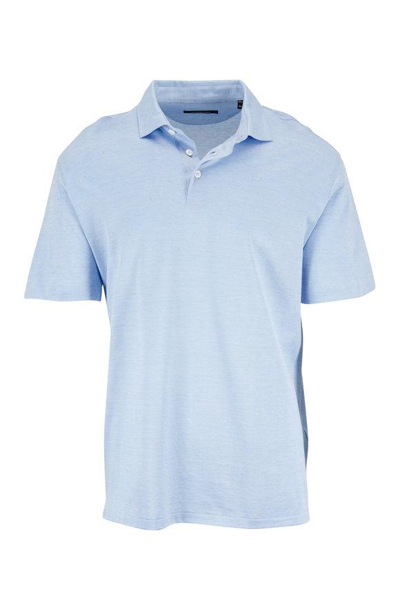 Ermenegildo Zegna Light Blue Cotton & Silk Polo
