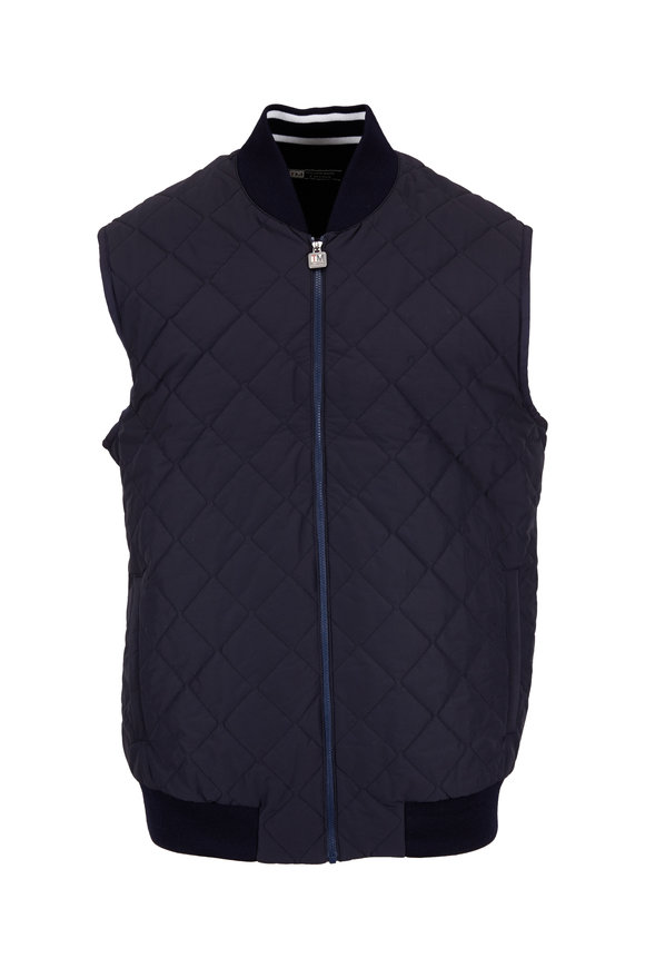 Z Zegna Navy Blue Techmerino Quilted Vest