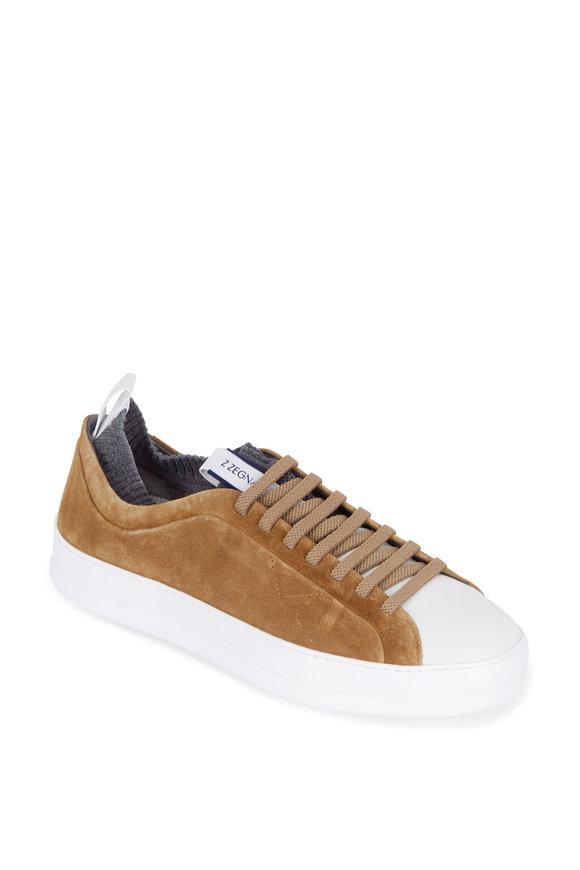 Ermenegildo Zegna Iacopo Brown Suede & White Techmerino Sneaker