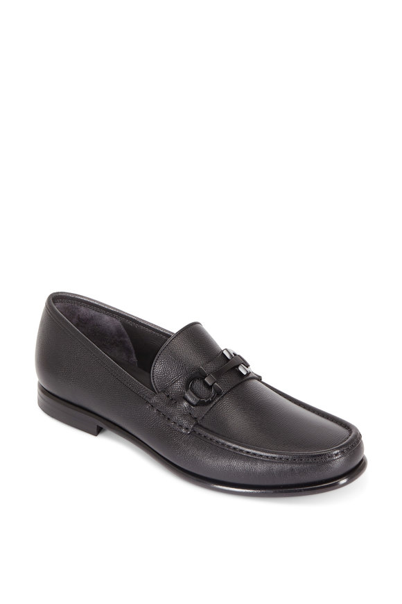 Salvatore Ferragamo Crown Black Grained Leather Bit Loafer