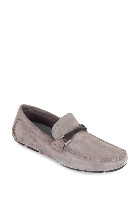 Salvatore Ferragamo Grandprix Gray Suede Leather Bit Driver