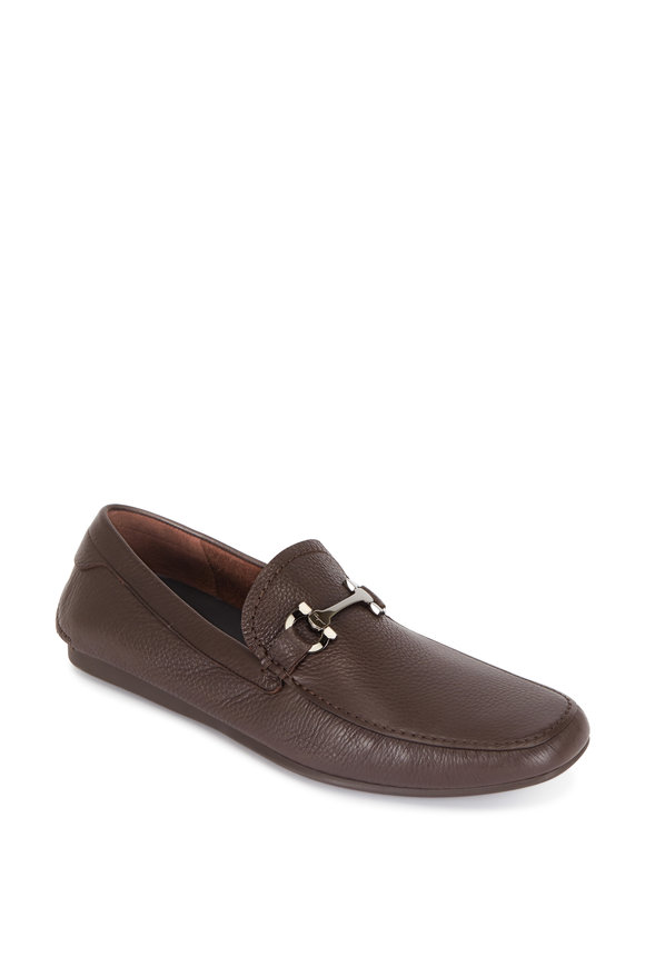 Salvatore Ferragamo Cancun 2 Hickory Brown Pebbled Leather Bit Driver