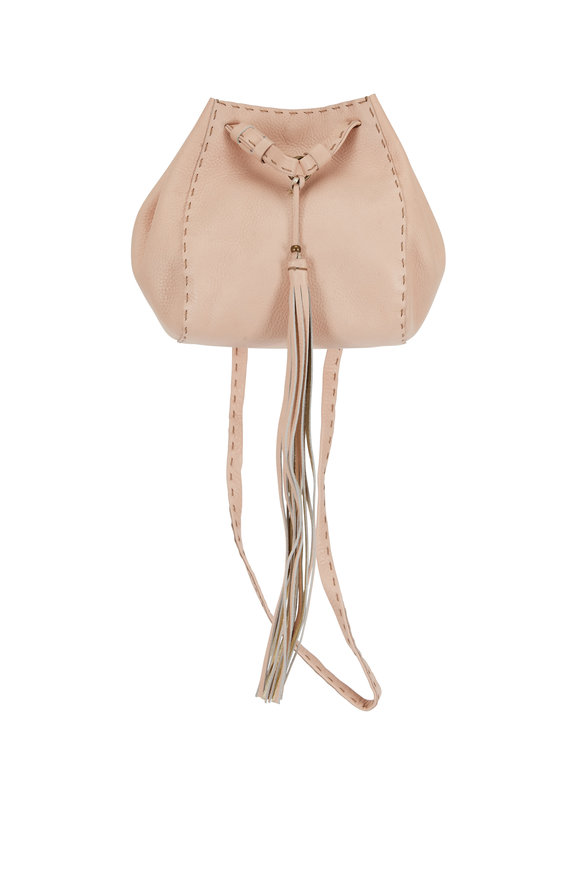 Henry Beguelin Ampolla Pink Leather Tassled Minin Crossbody Bag