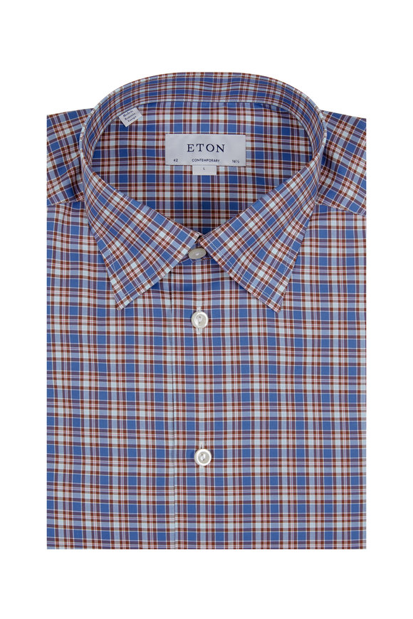 Eton Blue & Brown Check Contemporary Fit Sport Shirt
