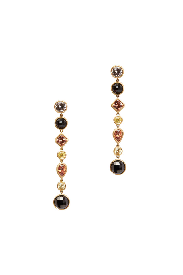Yellow Gold Black Spinel Yellow Sapphire Earrings
