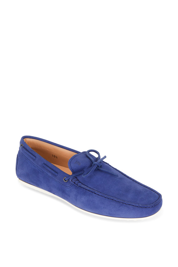 Tod's Laccetto City Gommino Royal Blue Suede Tie Driver