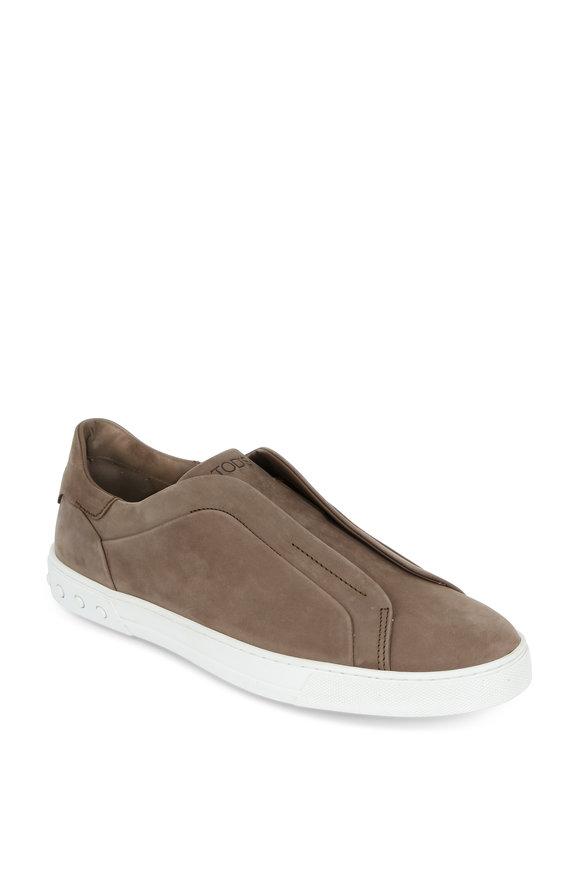 Tod's Allelasti Tan Suede Slip-On Sneaker