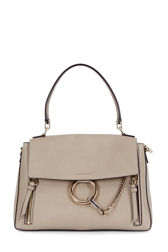 Chloé Faye Motty Gray Leather & Suede Shoulder Bag