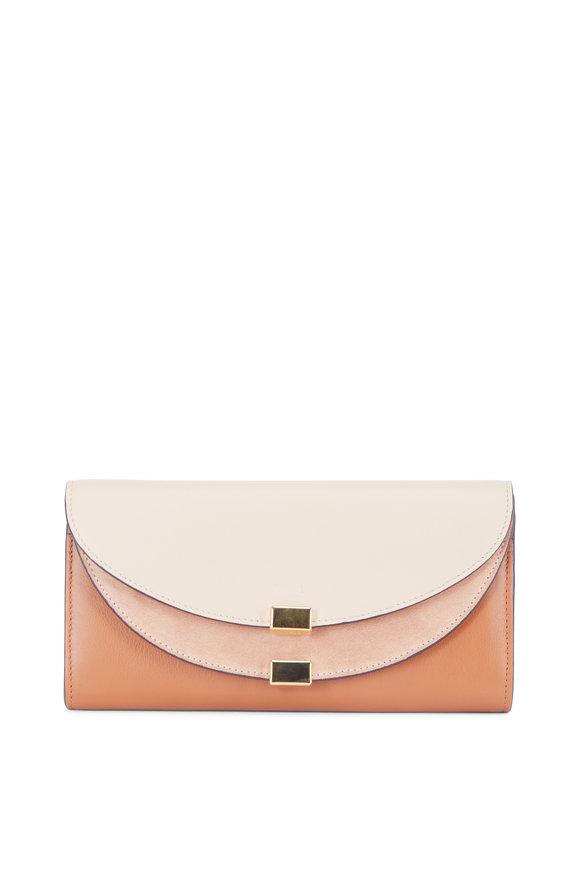 Chloé Pearl Beige Leather & Suede Long Flap Wallet