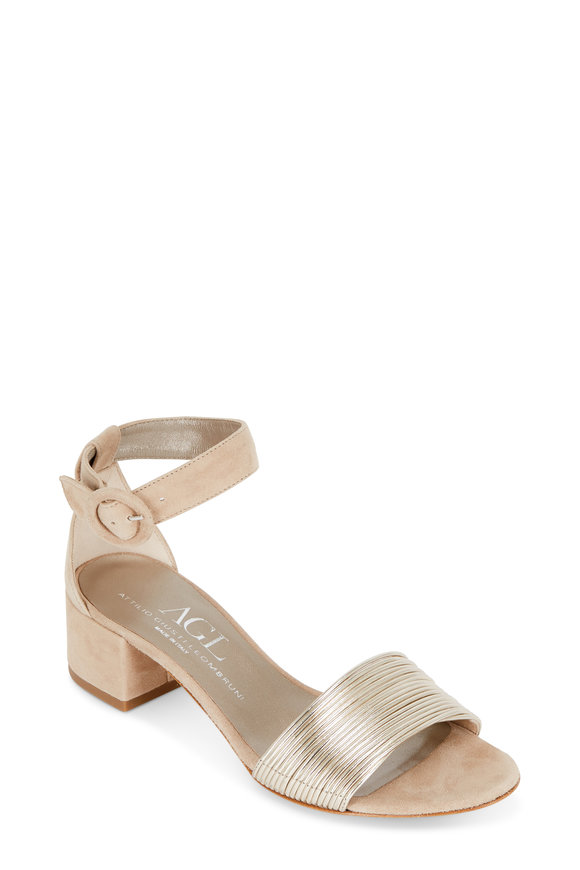 AGL Nude Suede Gold Banded Sandal, 50mm